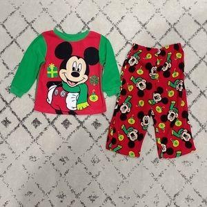 Disney Mickey Mouse Christmas Fleece Pajama Set 2T